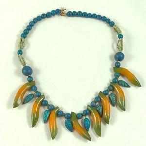 Wood Banana Turquoise Bead Necklace